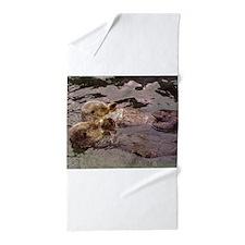 Cute Sea otter love Beach Towel