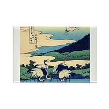 Japanese Crane Birds by Hokusai Magnets