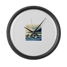 Japanese Crane Birds by Hokusai Large Wall Clock