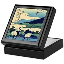 Japanese Crane Birds by Hokusai Keepsake Box