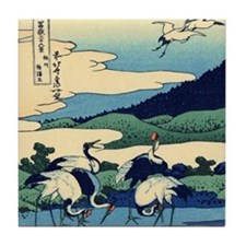 Japanese Crane Birds by Hokusai Tile Coaster