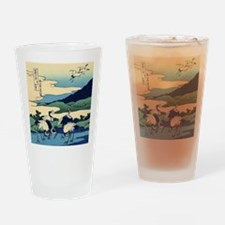 Japanese Crane Birds by Hokusai Drinking Glass