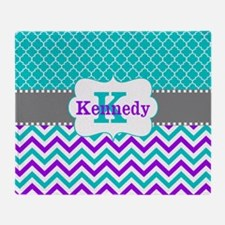 Teal Purple Quatrefoil Chevron Personalized Throw