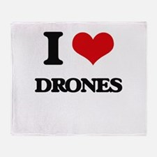 I Love Drones Throw Blanket
