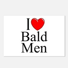 """I Love (Heart) Bald Men"" Postcards (Package of 8)"