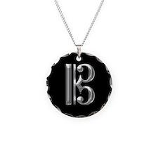 Silver Alto Clef - C Clef Necklace Circle Charm