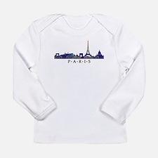 Mosaic Skyline of Paris France Long Sleeve T-Shirt