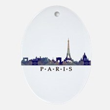 Mosaic Skyline of Paris France Ornament (Oval)