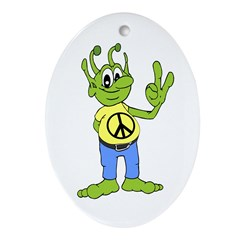 Alien With Peace Sign (Ornament)
