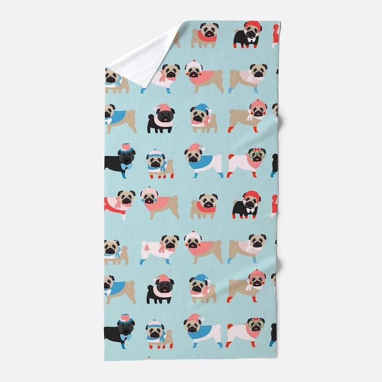 Cute Holiday pug Beach Towel