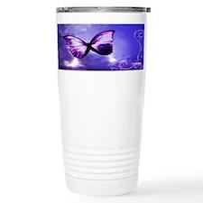 Cute Butterfly butterflies purple ribbon Travel Mug