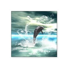 Dolphin jumping in the sea with waves as heart Sti