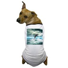 Dolphin jumping in the sea with waves as heart Dog
