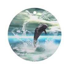 Dolphin jumping in the sea with waves as heart Orn