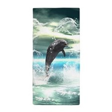 Dolphin jumping in the sea with waves as heart Bea