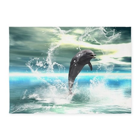 Dolphin jumping in the sea with waves as heart 5'x by ...