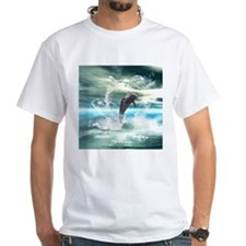 Dolphin jumping in the sea with waves as heart T-S