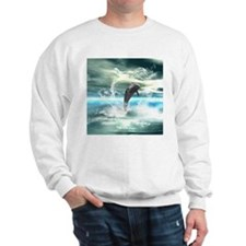 Dolphin jumping in the sea with waves as heart Swe