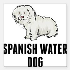 "Spanish Water Dog Square Car Magnet 3"" x 3"""