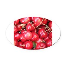 Red Cherries photography Oval Car Magnet
