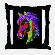 Neon Rainbow Pony Throw Pillow
