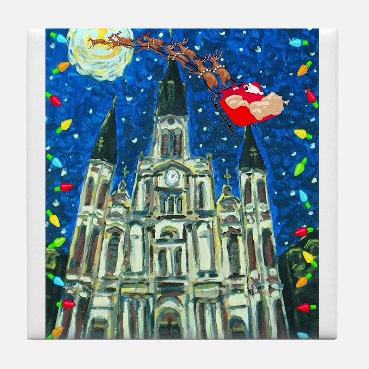 New Orleans Cheristmas Tile Coaster