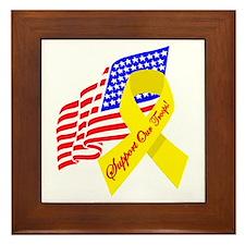 Support Our Troops US Flag Framed Tile