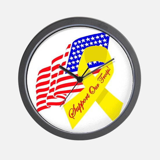 Support Our Troops US Flag Wall Clock