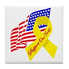 Support Our Troops US Flag Tile Coaster