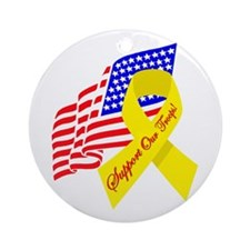 Support Our Troops US Flag Ornament (Round)