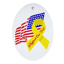 Support Our Troops US Flag Oval Ornament