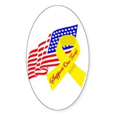 Support Our Troops US Flag Oval Decal