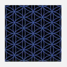 Flower Of Life Lg Ptn Blue/blk Tile Coaster