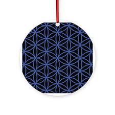 Flower of Life Lg Ptn Blue/Blk Ornament (Round)