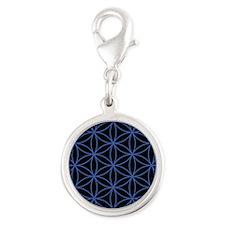 Flower of Life Lg Ptn Blue/Blk Charms