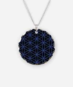 Flower of Life Lg Ptn Blue/Blk Necklace Circle Cha