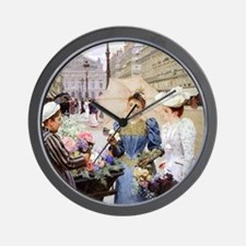 French Flower Cart Wall Clock