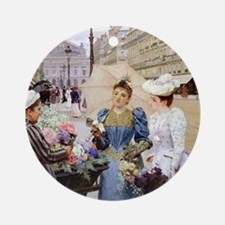 French Flower Cart Ornament (Round)