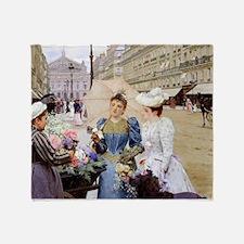 French Flower Cart Throw Blanket