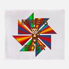 Monkeys Rock Throw Blanket