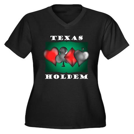 Texas Holdem 3 Women's Plus Size V-Neck Dark T-Shi