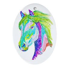 Rainbow Pony Oval Ornament