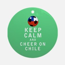 Keep Calm and Cheer On Chile Full Ornament (Round)