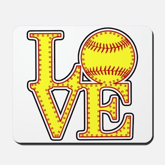 Love Softball Stitches Mousepad