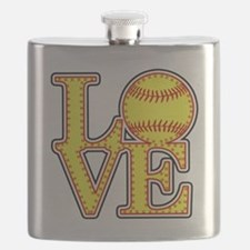 Love Softball Stitches Flask
