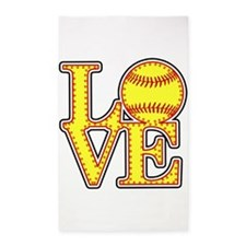 Love Softball Stitches Area Rug
