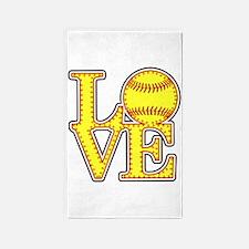 Love Softball Stitches Area Rug
