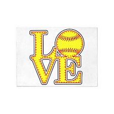 Love Softball Stitches 5'x7'Area Rug