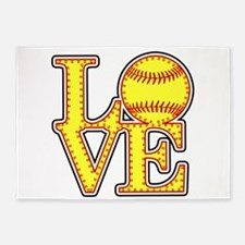 Love Softball Stitches 5'x7'Area Rug