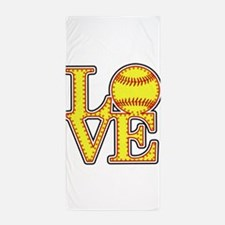 Love Softball Stitches Beach Towel